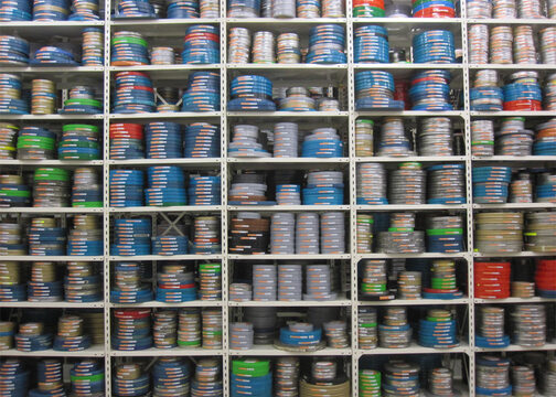 Film cans in the vault