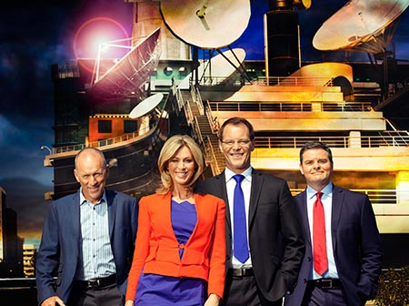 ONE News presenters Jim Hickey, Wendy Petrie, Simon Dallow and Andrew Saville.